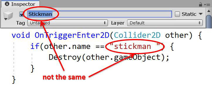 GameObject names must match