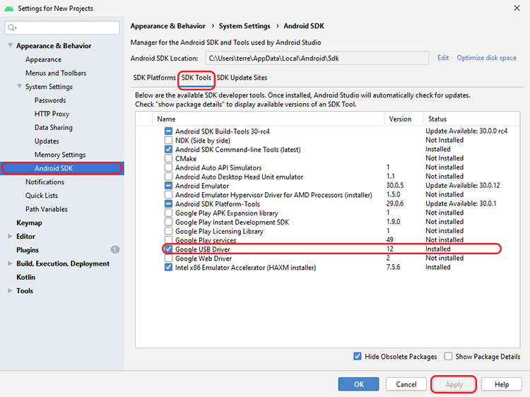 Google USB Driver in Android Studio's SDK Manager