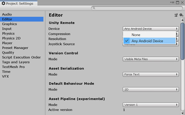 Setting the Unity Remote device
