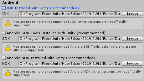 Manually set Unity NDK, SDK and JDK
