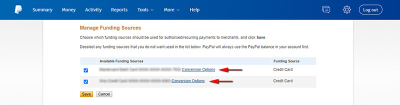 Set your conversion options in PayPal