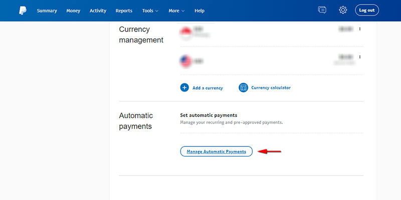 PayPal's Manage automatic payments page