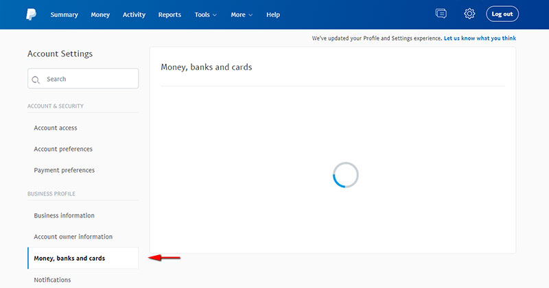 PayPal's Money, Banks and Cards page