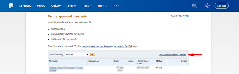 Set Available Funding Sources in PayPal