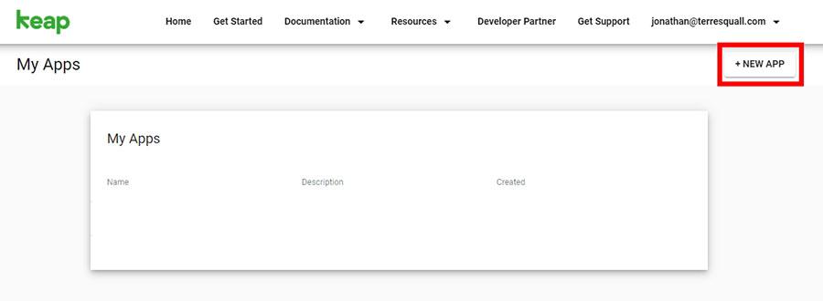 Keap's App Dashboard