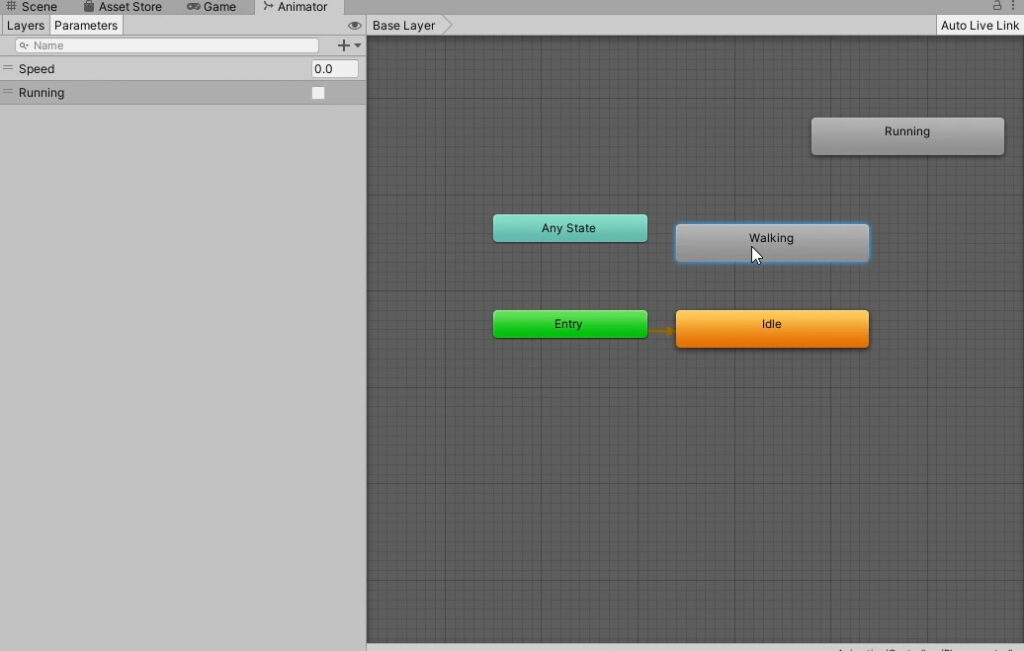 Setting up animation states and parameters