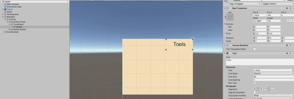 Changing Tools Section background colour and adding a header