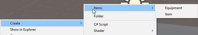 create asset menu equipment