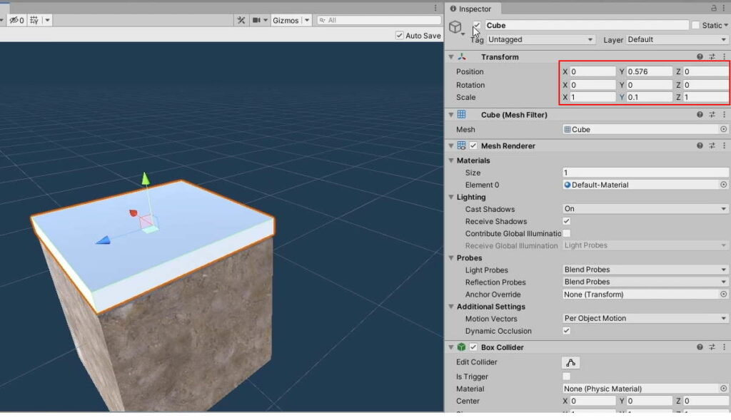 Select GameObject on the Land Prefab