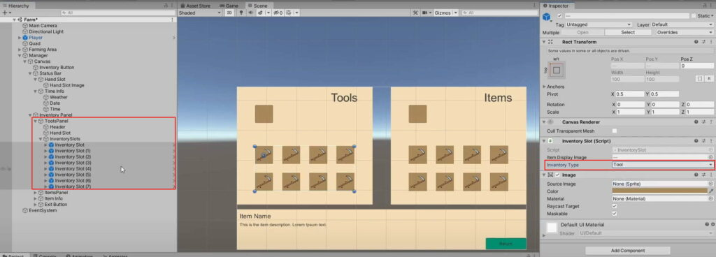 tool inventory slots set to tool