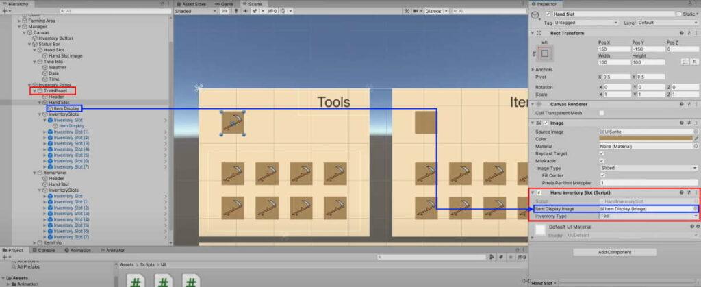 tools panel hand slot