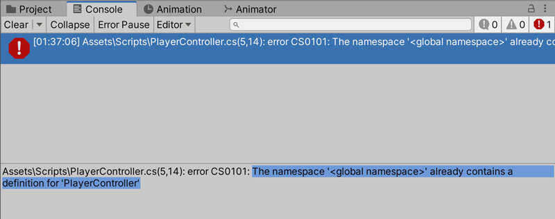 The global namespace already contains a definition